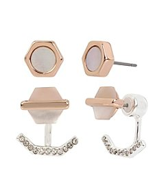 Kenneth Cole® Delicate Geometric Shell Stud & Earring Jacket Duo Set