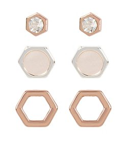 Kenneth Cole® Delicate Geometric Stud Earring Trio Set