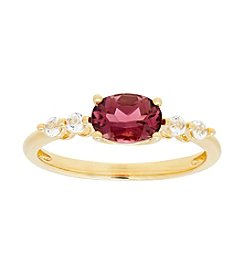 10K Yellow Gold Tourmaline And Topaz Ring