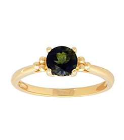 10K Yellow Gold Tourmaline Round Ring