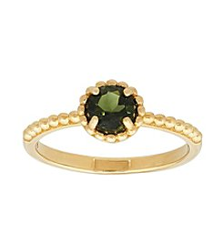 10K Yellow Gold Textured Tourmaline Ring