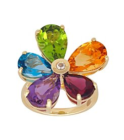 10K Yellow Gold Multi Stone Flower Ring