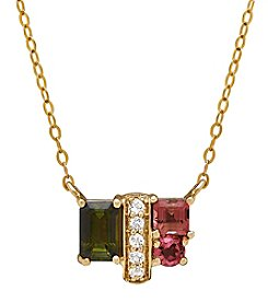10K Yellow Gold Tourmaline And Topaz Necklace