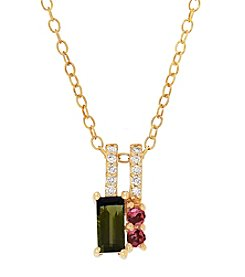 10K Yellow Gold Diamond Accented Tourmaline Necklace