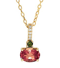 10K Diamond Accent Tourmaline Pendant Necklace