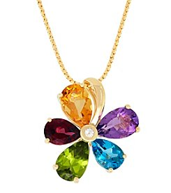 10K Yellow Gold Multi Stone Flower Pendant Necklace