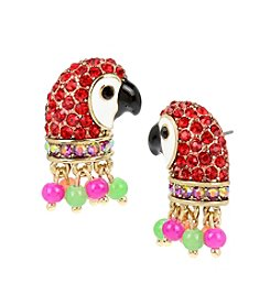 Betsey Johnson® Tropical Pave Parrot Stud Earrings