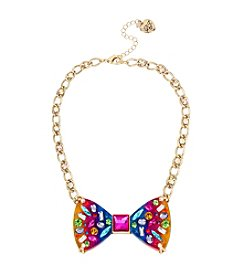 Betsey Johnson® Rainbow Bow Frontal Necklace