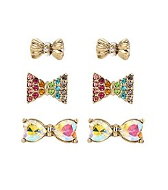 Betsey Johnson® Pave Rainbow Bow Stud Earrings Set