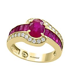 Effy® 14K Yellow Gold Ruby And .35 ct. t.w. Diamond Ring