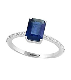 Effy® 14K White Gold 0.10 ct. t.w. Diamond & Sapphire Ring