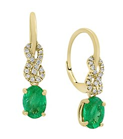 Effy® 14K Yellow Gold with 0.14 ct. t.w. Diamond & Emerald Earrings