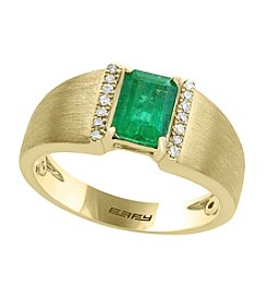 Effy® 14K Yellow Gold Emerald And .07 ct. t.w. Diamond Ring