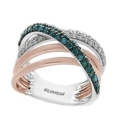 Effy® 14K White And Rose Gold .79 ct. t.w. Blue Diamond Ring