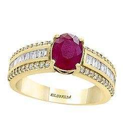 Effy® 14K Yellow Gold Ruby And .43 ct. t.w. Diamond Ring