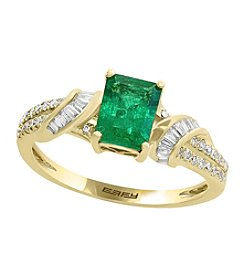 Effy® 14K Yellow Gold Natural Emerald with 0.27 ct. t.w. Diamond Ring