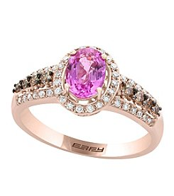 Effy® 14K Rose Gold with 0.33 ct. t.w. Diamond Accents Pink Sapphire Ring