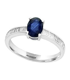 Effy® Natural Sapphire And 0.20ct. t.w. Diamond Ring