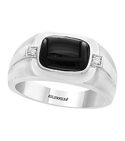 Effy® Men's 14K White Gold Agate Ring with 0.04 ct. t.w. Diamond Accents