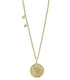 Effy® 14K Yellow Gold with 0.06 ct. t.w. Diamond Tree Pendant Necklace