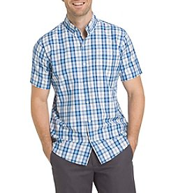 Izod® Men's Big & Tall Short Sleeve Windowpane Button Down Shirt