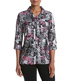 Studio Works® Printed Button Front Blouse