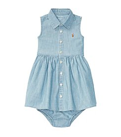 Ralph Lauren Baby Girls' Chambray Shirt Dress And Bloomer