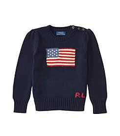 Polo Ralph Lauren® Girls' 2T-6X Long Sleeve Combed Flag Sweater