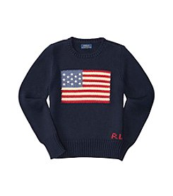 Ralph Lauren® Girls' 7-16 Long Sleeve Combed Flag Sweater
