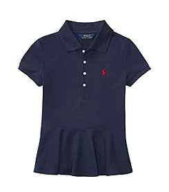 Ralph Lauren® Girls' 7-16 Short Sleeve Stretch Peplum Polo Shirt