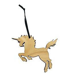eco Urban Timber Prancing Unicorn Ornament