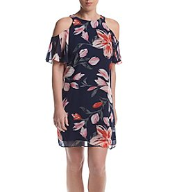 Jessica Howard® Petites' Navy Multi Cold Shoulder Flutter Sleeve Dress