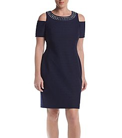 Jessica Howard® Petites Navy Cold Shoulder Shift Dress