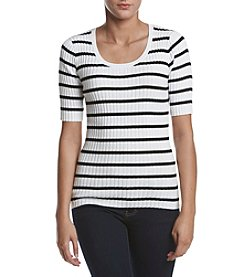 Jeanne Pierre® Striped Ribbed Sweater