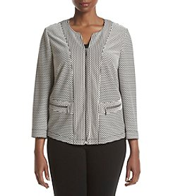 Kasper® Plus Size Pattern Zip Front Jacket