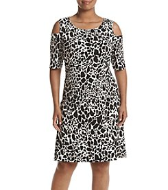 Kasper® Plus Size Cold Shoulder Print Dress