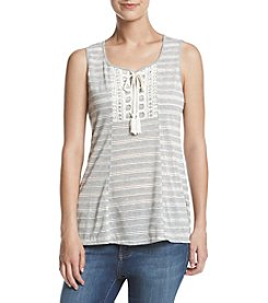 Oneworld® Striped Crochet Tie Neck Top