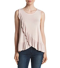 June & Hudson® Sleeveless Ruffle Front High-Low Knit Top