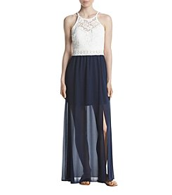 A. Byer Lace Top Gauze Maxi Dress