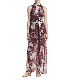 A. Byer Floral Wrap Front Maxi Dress