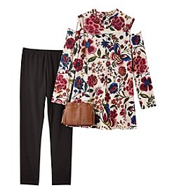 Amy Byer Girls' 7-16 3 Piece Floral Top, Pants And Purse Set