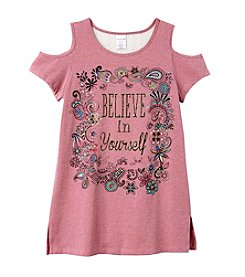 Miss Attitude Girls' 7-16 Cold Shoulder Believe In Yourself Tee