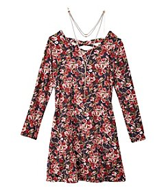 Amy Byer Girls' 7-16 Long Sleeve Floral A Line Dress
