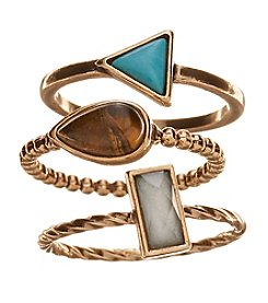 Ruff Hewn Goldtone 3 Ring Multi Stone Set