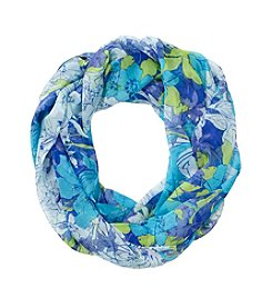 Collection 18 Blue Graphic Floral Loop Scarf