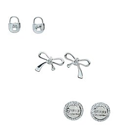 GUESS Simulated Crystal Earrings Pair Trio