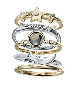 Kensie® Five Piece Moon And Star Stackable Rings