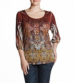 Oneworld® Plus Size Peasant Top