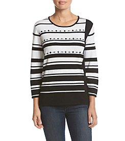 Alfred Dunner® Petites' Wrap It Up Striped Sweater