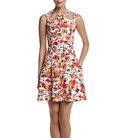 GUESS Floral Scuba Fit And Flare Dress
